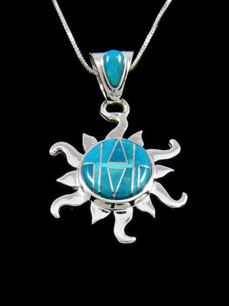 Native American Turquoise Sun Inlay Pendant