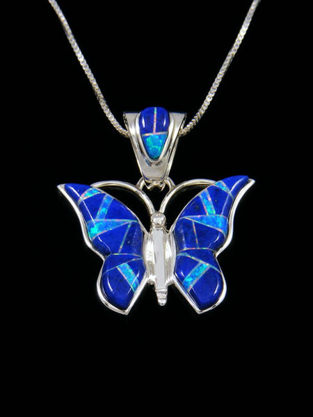 Native American Lapis and Opalite Butterfly Inlay Pendant