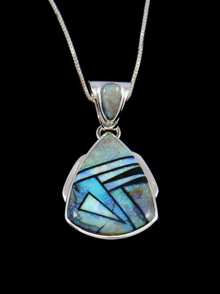 Native American Inlay Monarch Opal Pendant