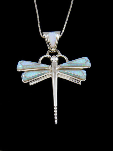Native American Opalite Dragonfly Inlay Pendant
