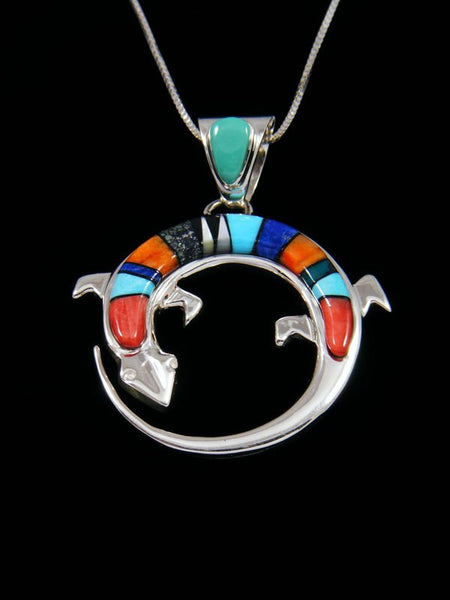 Native American Multistone Lizard Inlay Pendant