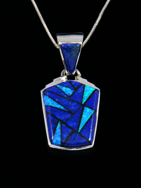 Native American Reversible Inlay Lapis and Opalite Pendant