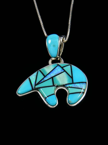 Native American Inlay Reversible Turquoise and Opalite Bear Pendant