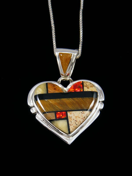 Native American Jasper Inlay Heart Pendant