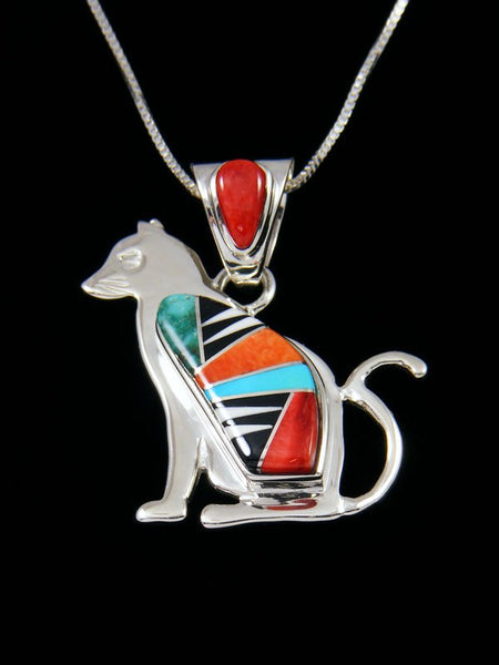 Native American Multistone Cat Inlay Pendant