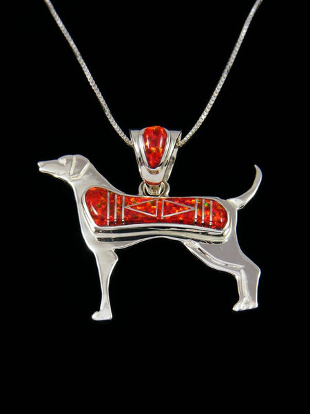 Native American Red Opalite Dog Inlay Pendant
