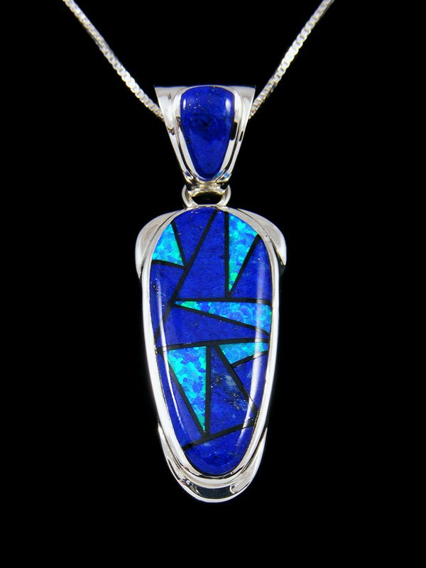 Native American Inlay Lapis and Opalite Pendant