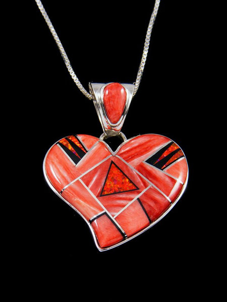 Native American Inlay Spiny Oyster and Opalite Heart Pendant