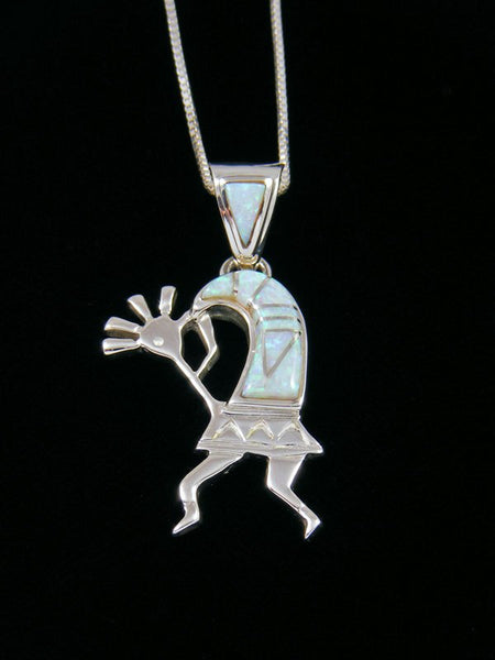 Native American Opalite Kokopelli Inlay Pendant