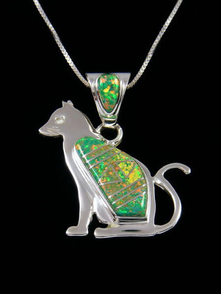 Native American Green Opalite Cat Inlay Pendant