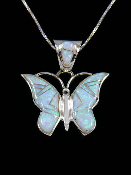Native American Opalite Butterfly Inlay Pendant