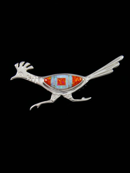 Native American Opalite Roadrunner Inlay Pin