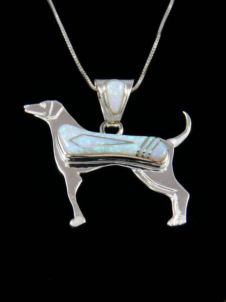 Native American Inlay Opalite Dog Pendant