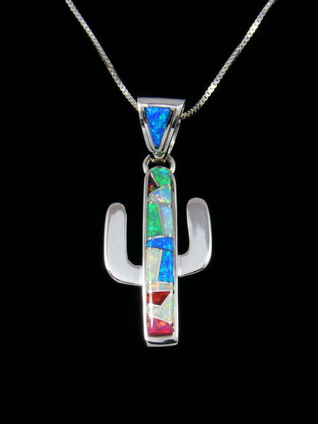 Native American Opalite Cactus Inlay Pendant
