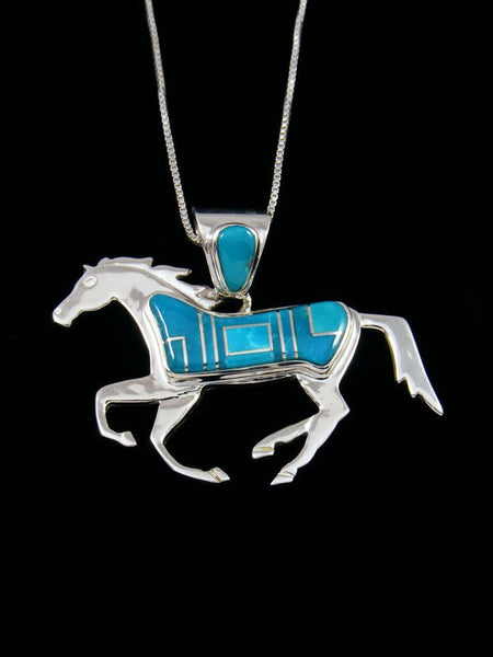 Native American Inlay Turquoise Horse Pendant