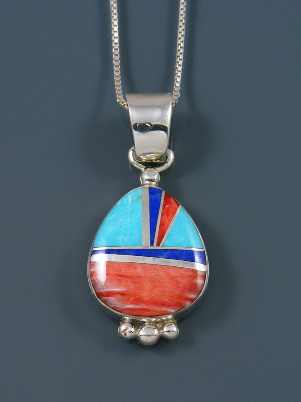 Native American Sterling Silver Spiny Oyster and Turquoise Inlay Pendant