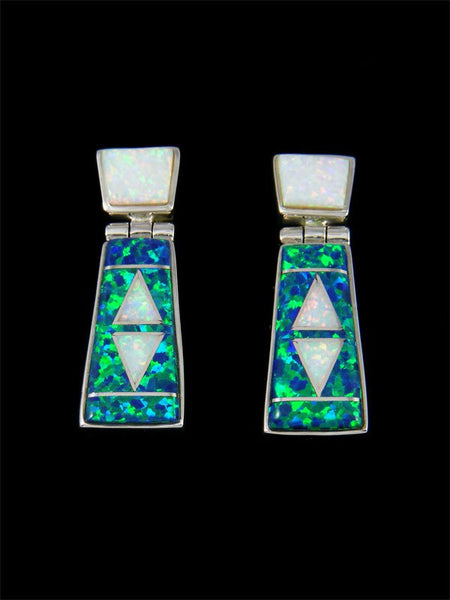 Native American Sterling Silver Opalite Inlay Post Earrings