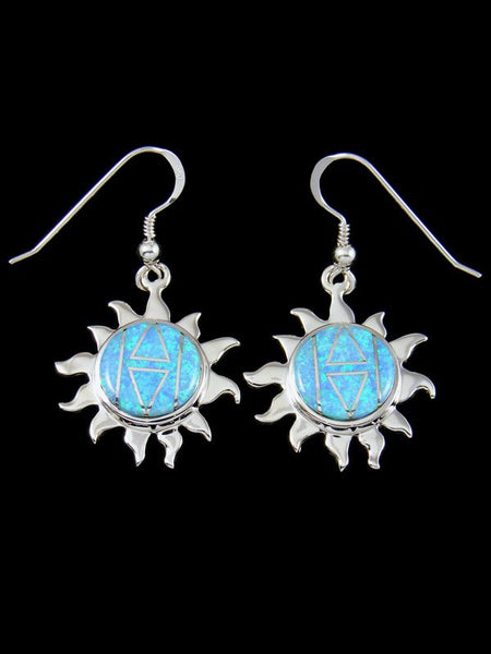 Native American Sterling Silver Opalite Inlay Sun Dangle Earrings