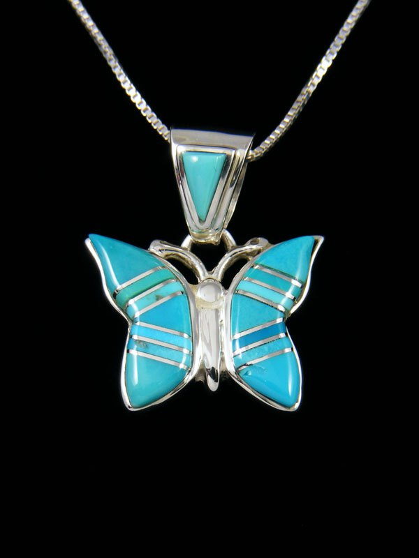 Native American Turquoise Butterfly Inlay Pendant