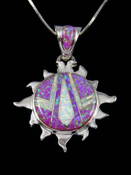 Native American Opalite Sun Inlay Pendant
