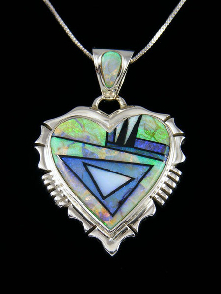 Native American Inlay Monarch Opal Heart Pendant