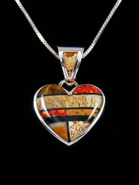 Native American Multistone Heart Inlay Pendant