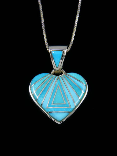 Native American Inlay Turquoise Heart Pendant