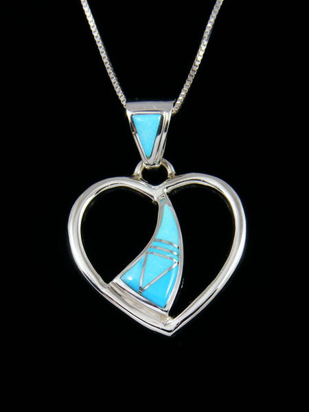 Native American Turquoise Heart Inlay Pendant