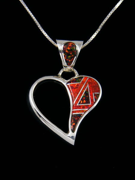 Native American Opalite Heart Inlay Pendant