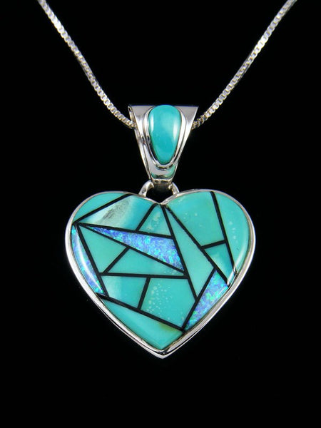 Native American Turquoise and Opalite Heart Inlay Pendant