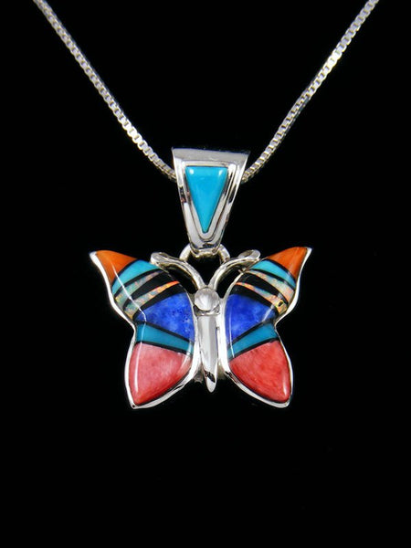 Native American Multistone Butterfly Inlay Pendant