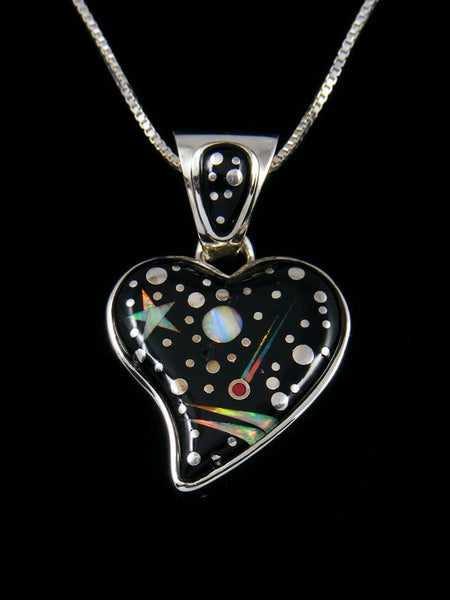 Navajo Starry Night Inlay Heart Pendant