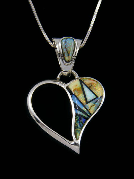 Native American Monarch Opal Heart Inlay Pendant