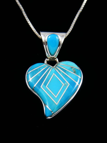 Navajo Sterling Silver Turquoise Inlay Heart Pendant