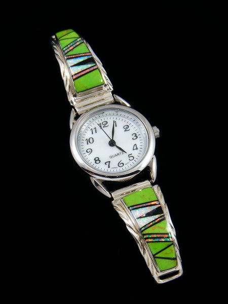 Native American Gaspeite and Opalite Inlay Ladies' Watch