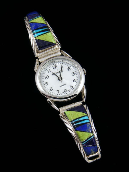Native American Gaspeite and Lapis Inlay Ladies' Watch