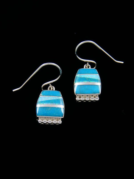Navajo Turquoise and Opalite Inlay Dangle Earrings