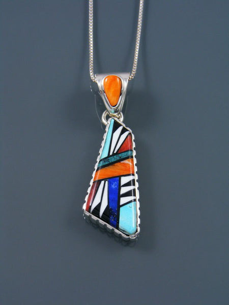 Turquoise and Spiny Oyster Navajo Inlay Pendant