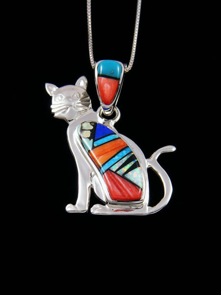 Native American Spiny Oyster and Turquoise Cat Inlay Pendant