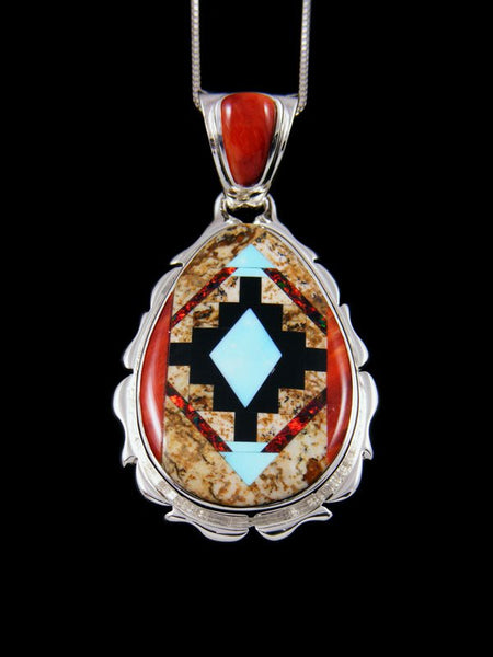 Native American Spiny Oyster and Jasper Inlay Pendant
