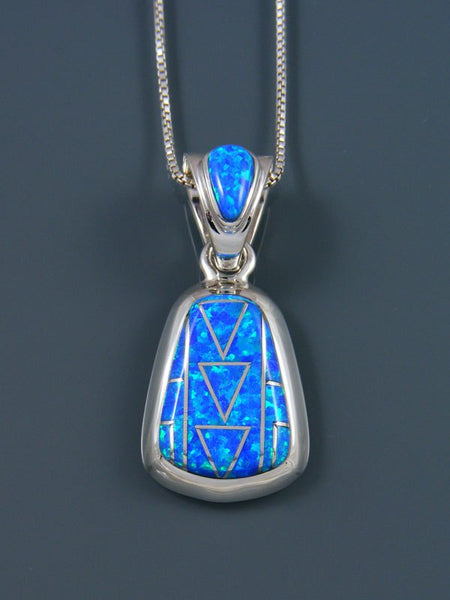 Native American Inlay Blue Opalite Pendant