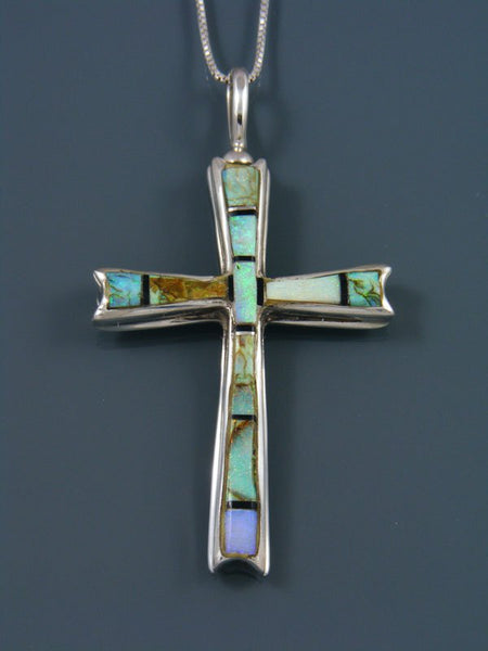 Navajo Necklace Inlay Monarch Opal Cross Pendant