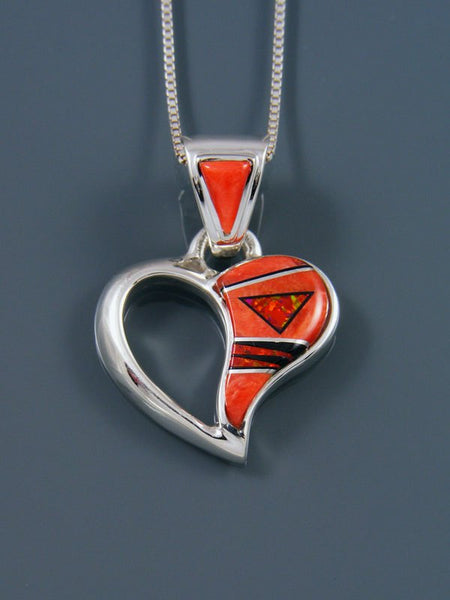 Native American Spiny Oyster Heart Inlay Pendant