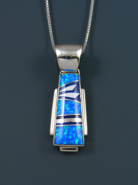 Native American Inlay Opalite and Lapis Pendant