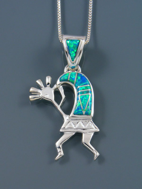 Native American Inlay Opalite Kokopelli Pendant