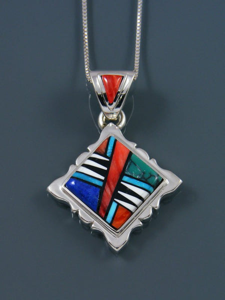 Native American Inlay Spiny Oyster and Turquoise Pendant