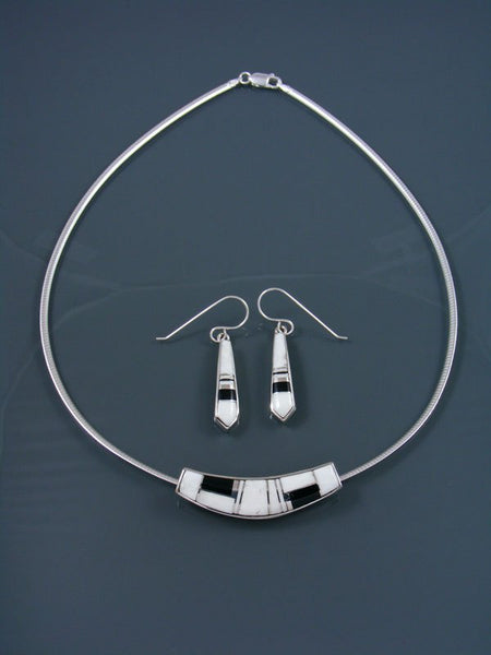 Navajo White Buffalo Inlay Choker and Earrings Set