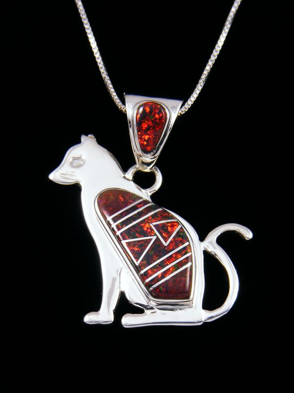 Native American Inlay Fiery Opalite Cat Pendant