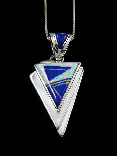 Native American Lapis and Opalite Inlay Pendant