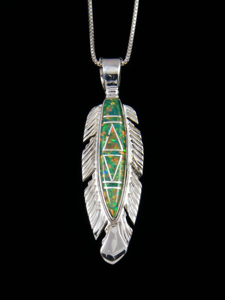 Native American Inlay Opalite Feather Pendant